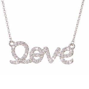 ADORNIA Sterling Silver SWAROVSKI LOVE Necklace